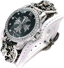 腕時計 メンズ ヘビ革 ホワイトレザー ジルコニアクロス 黒文字盤 ブレスウォッチ ホワイトメタルコンチョ