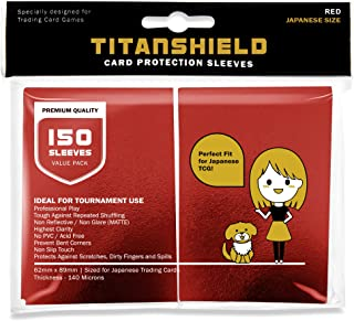 TitanShield (150 Sleeve/Red Small Japanese Sized Trading Card Sleeves Deck Protector for Yu-Gi-Oh, Cardfight!! Vanguard & ...