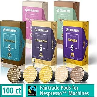 Gourmesso Flavor Bundle - 100 Coffee Capsules Compatible with Nespresso Machines - 100% Fair Trade | Includes Vanilla, Caramel, Chocolate, Hazelnut, and Coconut Flavored Espresso Pods