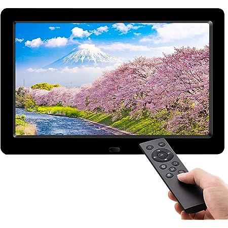 moonkaデジタルフォトフレーム 8インチ IPS広視野角/写真音楽動画再生/カレンダー/アラーム/自動オンオフ/タイマー/USB/SDカード対応 リモコン付き 良いギフト 日本語取扱説明書