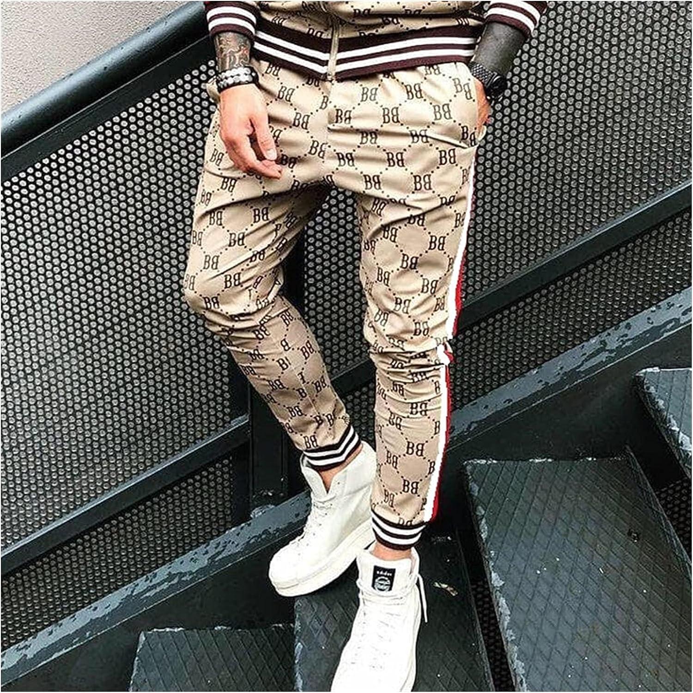 Jacket Streetwear Spring and Autumn New Men's Suit Jogger Brand Hip Hop Casual Men's Clothing Zipper Jacket Fashion Pants (Color : Khaki Pants, Size : XXXL(185 190))