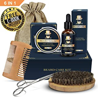 Beard Grooming Kit - Jurgen K Beard Care Kit for Men, Beard Growth Kit 5 in 1 Beard Oil and Balm, Wooden Beard Brush and Comb, Sharp Beard Scissors Luxury Gift Box and Free E-Book
