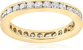 1ct Diamond Wedding Eternity Stackable 14K Yellow Gold Ring Channel Set