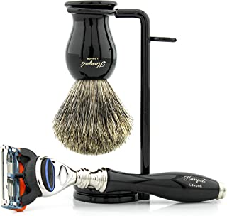 3-częściowy zestaw do golenia dla mężczyzn – 5-krawędziowa maszynka do golenia, ergonomiczne wzornictwo mosiężna szczotka ...