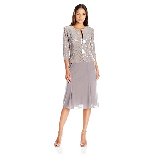 6f2d4e97224 Alex Evenings Women s Tea Length Mock Dress with Sequin Jacket (Petite and  Regular Sizes)