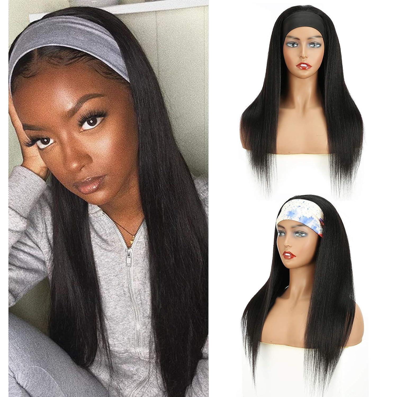 Yaki Straight Headband Wig Blended Kinky Human Glueless Max 52% OFF Dedication Hair