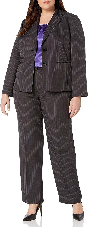 Le Suit Women's Plus Size Pinstripe 2 Button Notch Lapel Pant Suit with Cami