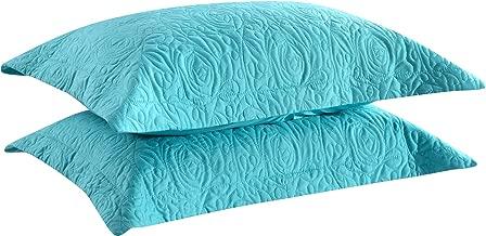 MarCielo 2-Piece Embroidered Pillow Shams, Decorative Microfiber Pillow Shams Set Standard Size Turquoise