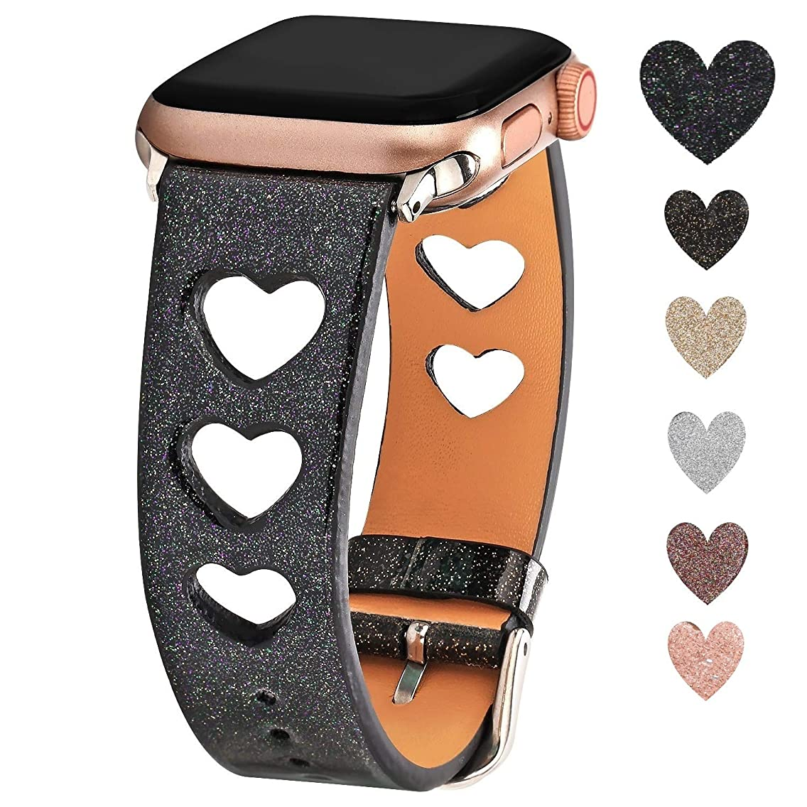 Greaciary Glitter Sparkle Band Compatible for Apple Watch 38mm 40mm 42mm 44mm,Luxury Shiny Unique Heart Shaped Style Women Girls Replacement Wristbands for iWatch