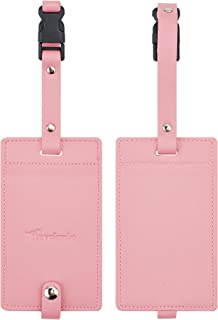 Travelambo Synethic Leather Luggage Tags & Bag Tags 2 Pieces Set Various Colors
