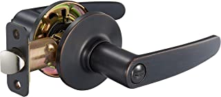 AmazonBasics Straight Door Lever With Lock, Privacy, Oil Rubbed Bronze