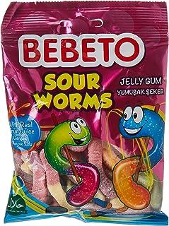 Bebeto Sour Worms Jelly Gum, 80 gm