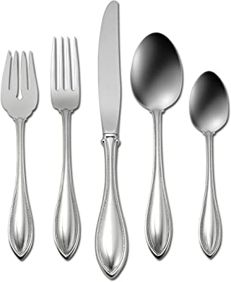 Oneida American Harmony 45 Piece Everyday Flatware, Service for 8, 18/0 Stainless Steel, Silverware Set, Dishwasher Safe, Silver