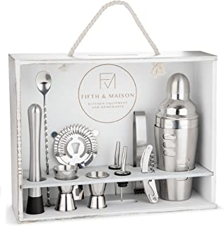 Mixology Bartender Kit with Stand - 11 Piece Stainless Steel Cocktail Shaker Set Bar Set Bar Accessories Cocktail Recipes - 24oz Drink Mixer Cocktail Mixing Set Gift Set - Home Bar Bartending Tools