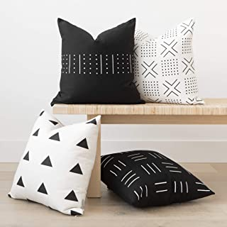 Woven Nook Decorative Throw Pillow Covers, 100% Cotton Canvas, Zola Set, Pack of 4 (18 x 18)
