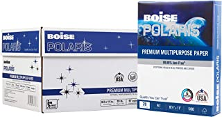 $53 » BOISE POLARIS Premium Multipurpose Paper, 8.5 x 11, 97 Bright White, 20 lb, 10 ream carton (5,000 Sheets)