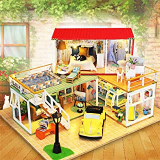 Flever Dollhouse Miniature DIY House Kit Creative Room with Furniture for Romantic Valentine's Gift(Our Love in The House)