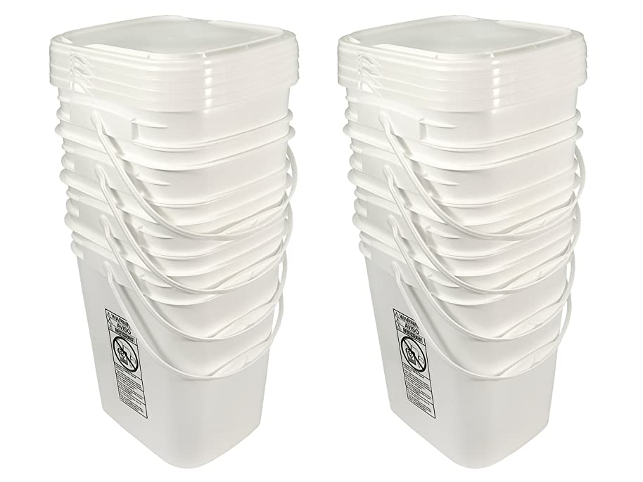 5.3 Gallon White Rectangular Bucket/Pail with Hinged Snap Lid, 8 Pack