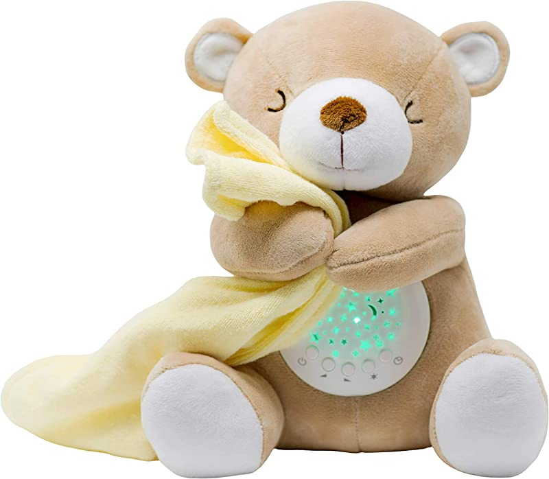 TickleDrops Teddy Sleep Soother Sound Machine Night Light Star Projector The Authentic Tickle Drops Stuffed Plush Teddy Gift For Babies Toddlers With Lullabies And White Noise Options