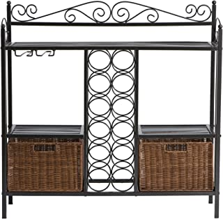 Celtic Bakers Rack w/ Wine Storage - Wrought Iron - Gunmetal Finish