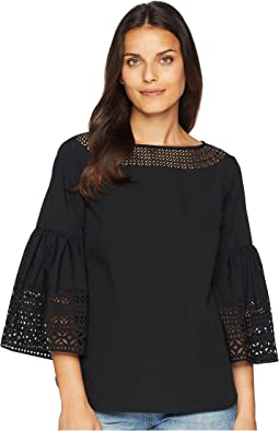 Poplin Bell-Sleeve Top