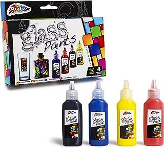 Grafix – Juego de 4 pinturas de cristal – rojo, azul y amarillo, color