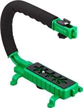 Cam Caddie Scorpion Jr Stabilizing Camera Handle for DSLR and GoPro Action Cameras - Professional Handheld U/C-Shaped Grip with Integrated Accessory Shoe Mount for Microphone or LED Video Light - Includes: Smartphone / GoPro Adapters and 1/4-20 Threaded Mounting Knob - Green