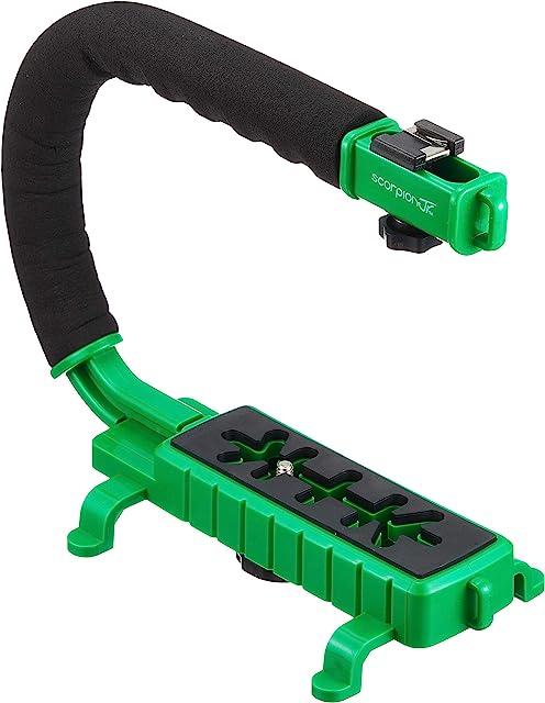 Cam Caddie Scorpion - Asa estabilizadora de cámara de vídeo para Nikon Canon JVC Toshiba Sony Olympus Pentax Apple iPhone GoPro Hero 4 Hero 3+ Hero 3 y más Color Verde Scorpion JR - Verde