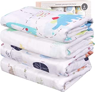 Viviland Baby Muslin Swaddle Blanket for Newborn Boys and Girls | 70% Bamboo 30% Cotton Receiving Blanket Swaddle Wrap wit...