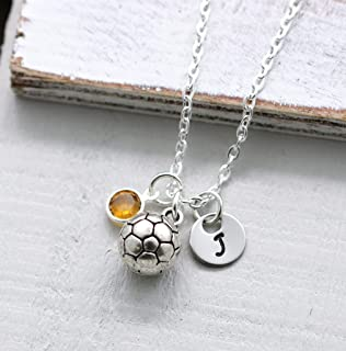 Soccer Ball Necklace for Girls - Personalized Initial & Birthstone - Soccer Team Gifts - Birthday Gifts for Soccer Player