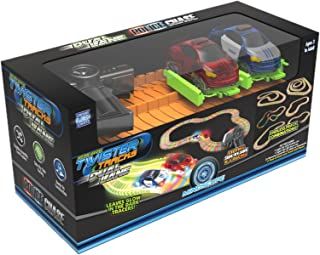 Mindscope Twister Tracks Radio Control Dual Lane Police Chase Glow in The Dark Track Set with 2 Cars and 2 Radio Controls RC