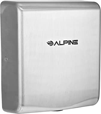 Alpine Industries Willow High-Speed Commercial Hand Dryer - Heavy Duty Electric Wall Handdryer for Office, Restaurant, Mall & Business Restrooms & Bathrooms (Stainless Steel, 120v)