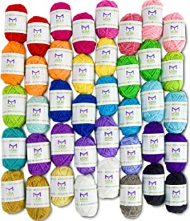 Mira Handcrafts 40 Assorted Colors Acrylic Yarn Skeins with 7 E-Books - Perfect for Any Knitting and Crochet Mini Project (Renewed)