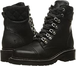Black Waterproof Waxed Pebbled Leather/Quilted Wool