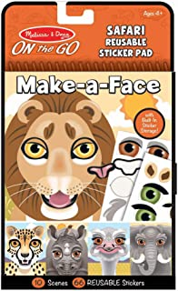 Melissa & Doug On The Go Make-a-Face Reusable Sticker Pad Travel Toy Activity Book – Safari Animals (10 Scenes, 66 Cling S...