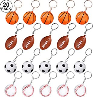 Sport Keychains for Party Favors, School Carnival Reward, Party Bag Gift Fillers (Soccer Football Baseball Basketball, 20 Pack)