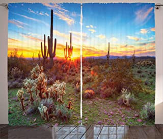 Ambesonne Saguaro Cactus Decor Collection, Saguaros Wildflowers in Sonoran Desert Scene Picture Print, Living Room Bedroom Curtain 2 Panels Set, 108 X 84 Inches, Blue Yellow Orange Olive