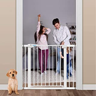 40.6-Inch Baby Gate for Doorways and Stairs,Extra Wide Walk Through Baby Gate, Includes 2.75-Inch and 5.5-Inch Extension, 4 Pressure Mount Kit, 4 Wall Cups