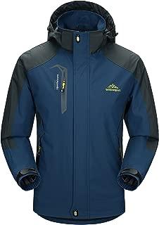 Men's Hooded Windbreaker 3 Zip Pockets Lightweight Water-Resistant Softshell Raincoat Hiking Jacket