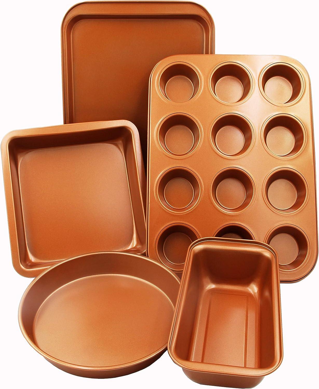 CopperKitchen 5 pcs Baking Popular Pans Organic - Nonstick Eco Friendly Latest item