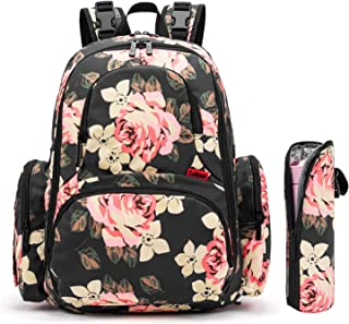 CoolBELL Baby Diaper Bag Backpack with Insulated Pockets Large Capacity Water-Resistant Baby Bag Multi-Functional Travel Knapsack Include Changing Pad for Travel/Dad/Mum (Black Flower)