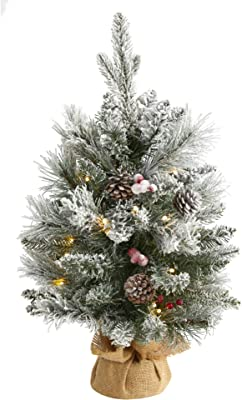 2ft. Flocked Artificial Christmas Tree with 30 Clear Lights, 73 Bendable Branches, Pine Cones and Berries