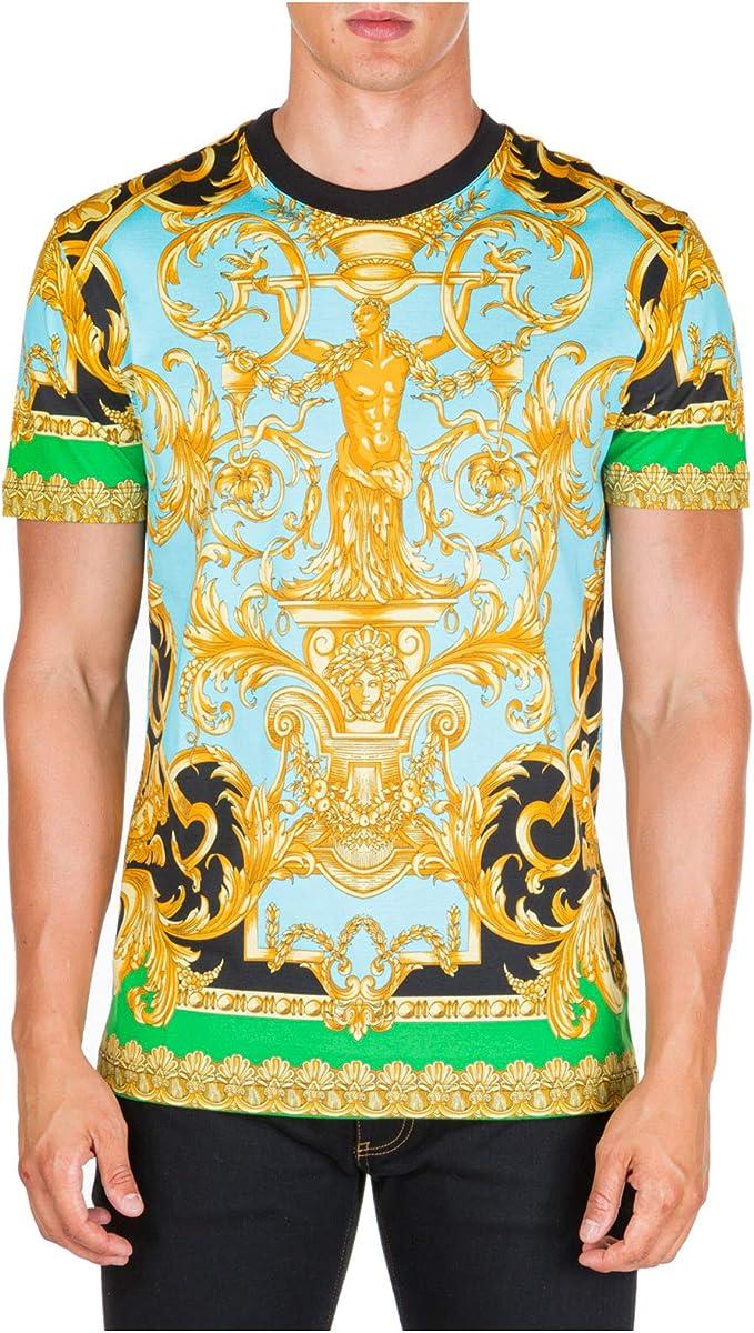 Versace Hombre Camiseta barocco Verde M: Amazon.es: Ropa