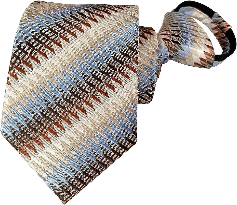 Secdtie Mens Boys Zipper Ties Business Wedding Checks Striped Pre-tied Neckties