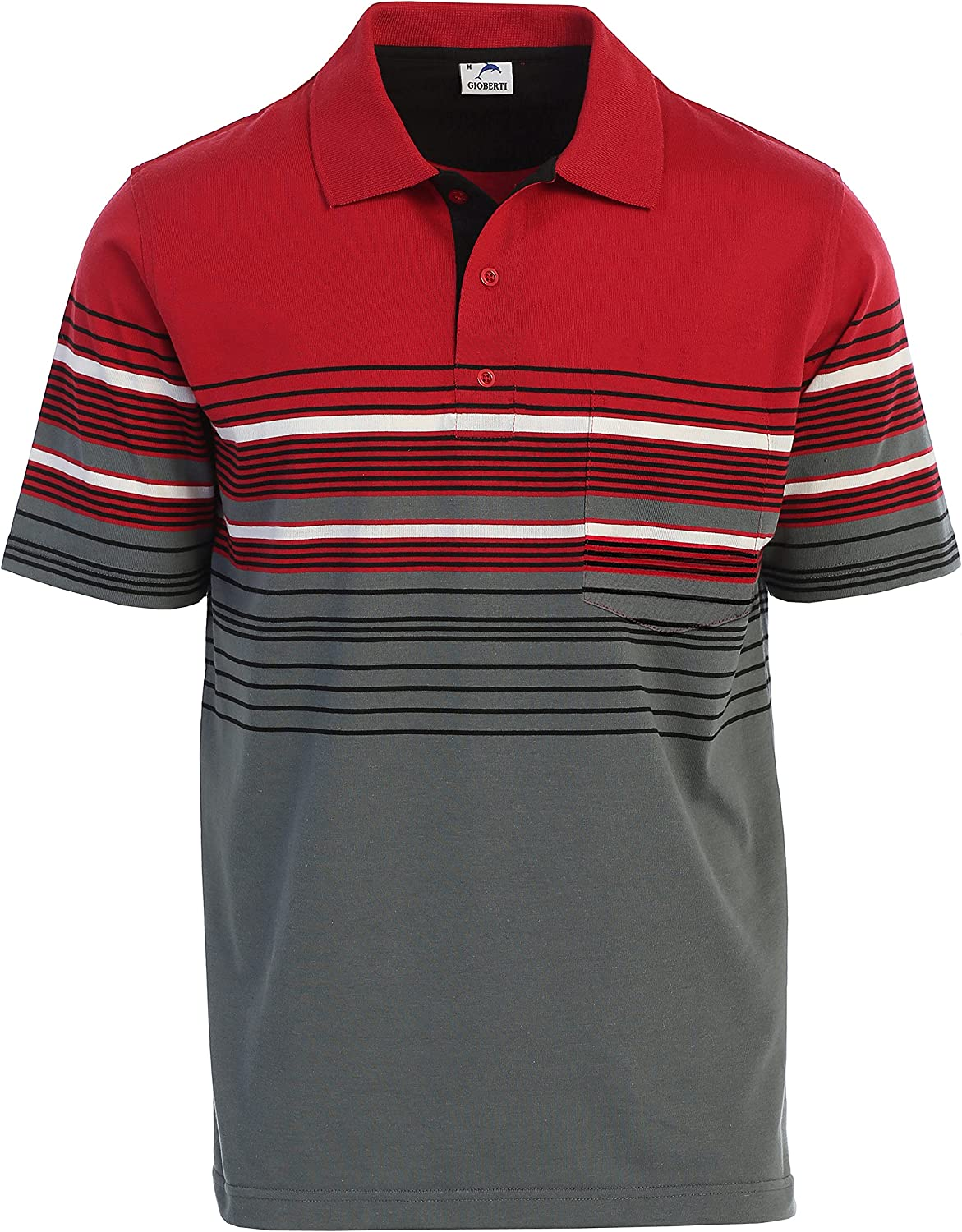 Gioberti Mens Slim Fit Striped Challenge the lowest price of Japan ☆ Shirt Pocket with Polo Sale Special Price