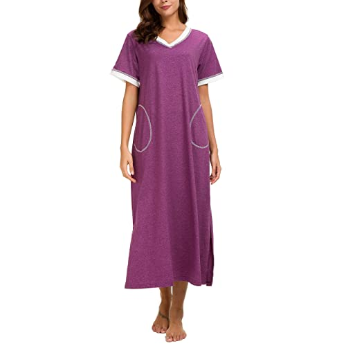 9a4c4b1587a4 AVIIER Long Nightgown Womens Lounge Dresses with Pockets V Neck Short  Sleeve Nightshirt Sleepwear S-