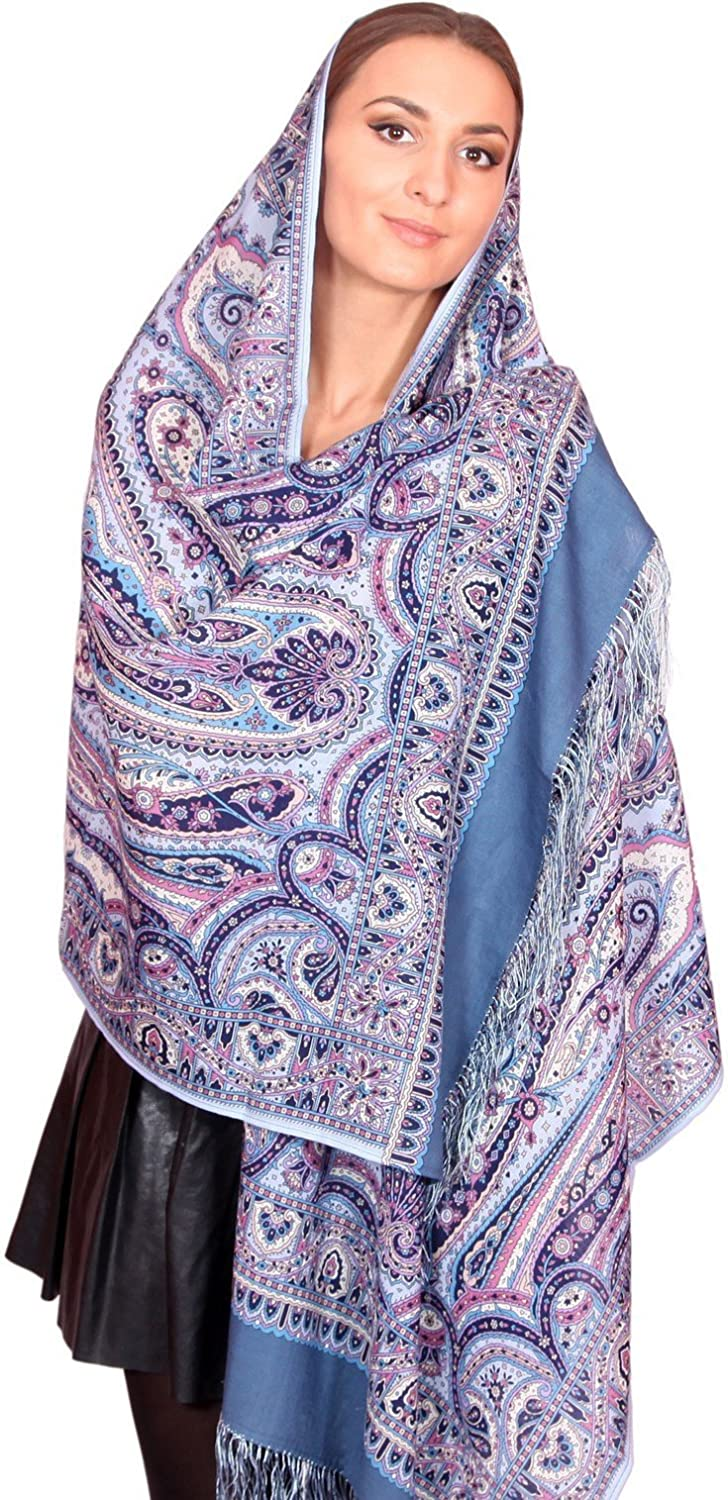 Pavlovo Posad Russian Shawl Pashmina Scarf Wrap Light bluee & Purple №205 Wool 27×79''