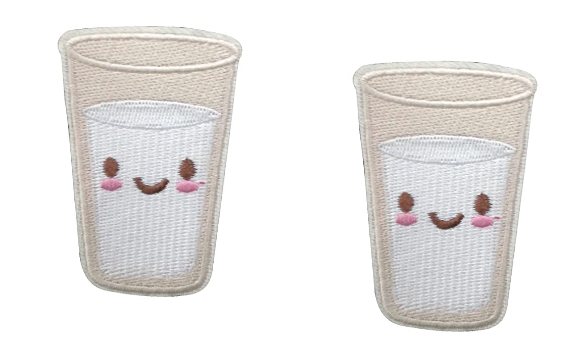 2 pieces GLASS OF MILK Iron On Patch Fabric Applique Food Drink Motif Children Decal 2.4 x 1.6 inches (6 x 4 cm)