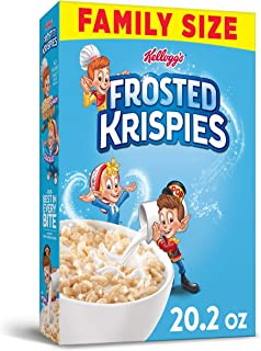 Kellogg's Frosted Krispies, Breakfast Cereal, Family Size, 20.3oz Box(Pack of 6)