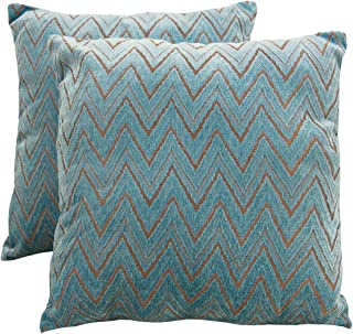 SUNSHINE FASHION Pack of 2 Modern Chenille Jacquard Throw Pillow Covers Decorative Textured Square Accent Cushion Covers Set for Sofa, 18 x 18 inches(45cm) (Wave-Blue, 2)
